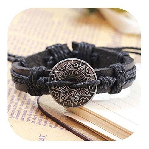 Molyveva Men Women Leather Bracelet Vintage Warrior Shield Braided Wrap Bracelets (Black) ()