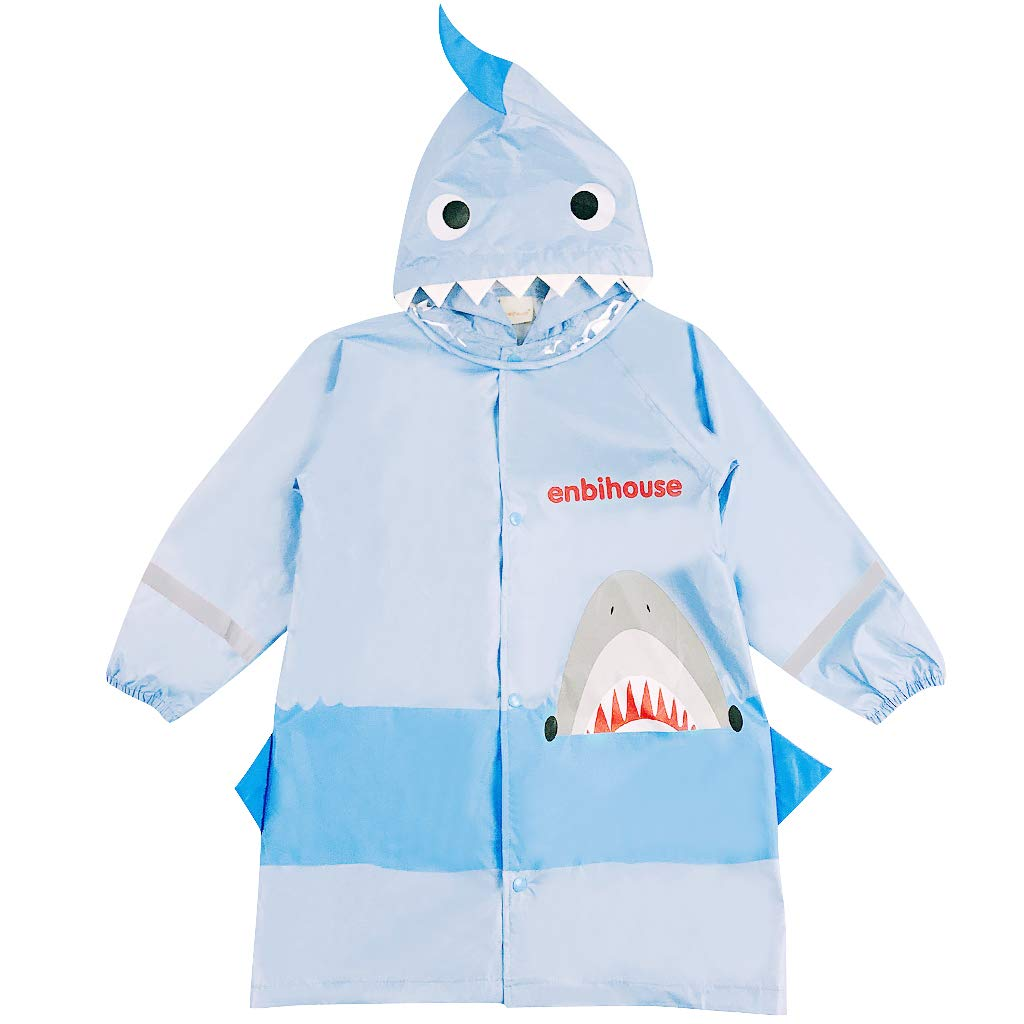Kids Raincoat Poncho Waterproof Rain Jacket Hooded Rainwear Shark Reusable Cape