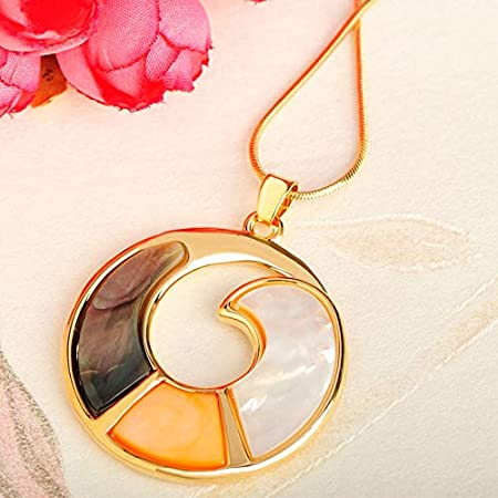 Davitu New Fashion Jewelry Round Big Pendants Shell Material Necklace Women Exquisite Gift Wedding Party Dress Accessories Metal Color: Silver Color