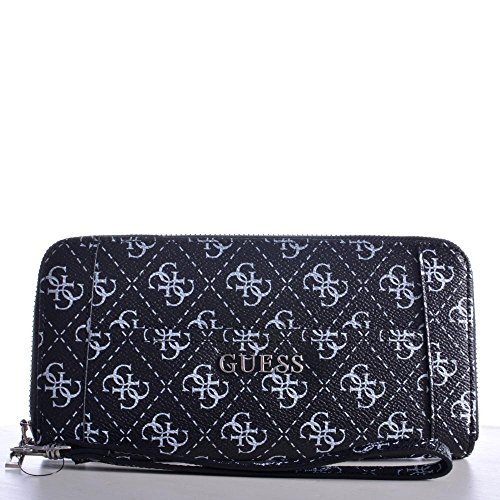 Guess Cartera Delaney Largo Zip Around 65 SWSQ4535460 Black BLA Billetera Damas