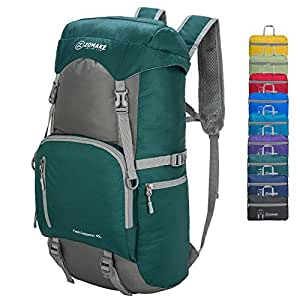 40L Water Resistant Hiking Daypack, Lightweight Packable Travel Backpack for Outdoor, Camping, Trekking Army Green(New)