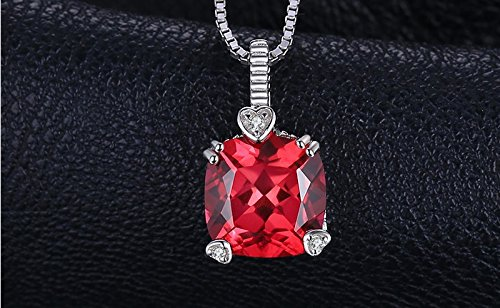 4.7ct Square Created Ruby Pendant Necklace 100% 925 Sterling Silver 45 cm Box Chain