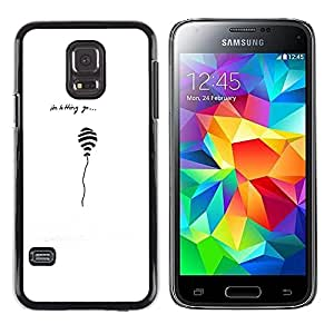 iKiki Tech / Estuche rígido - Balloon Quote Love White Black Minimalist - Samsung Galaxy S5 Mini, SM-G800, NOT S5 REGULAR!