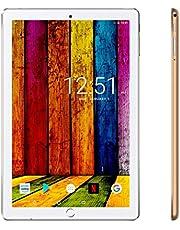 Tablet Touchscreen 10,1 Zoll 4G Android 9.0 Quad Core mit 32 GB, 3 GB RAM Tablet Dual SIM und Dual Kamera, WiFi Bluetooth GPS – Gold