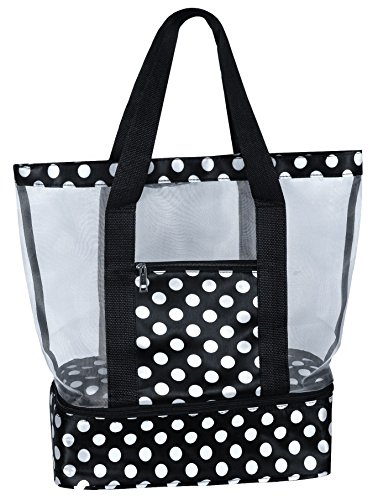 Mesh Beach Tote Bag with Insulated Picnic Cooler Compartment (Black/White) (Bag Sandal)