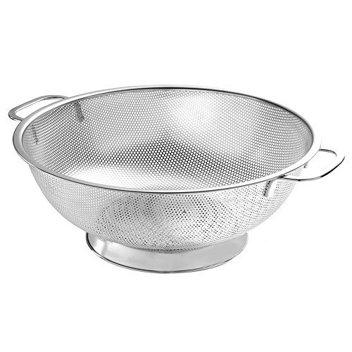 EA-Home Colander Stainless Steel,6-Quart Micro-perforated Strainer with Heavy Duty Handle and Large Base,Strainer for Kitchen,Durable Dishwasher Safe