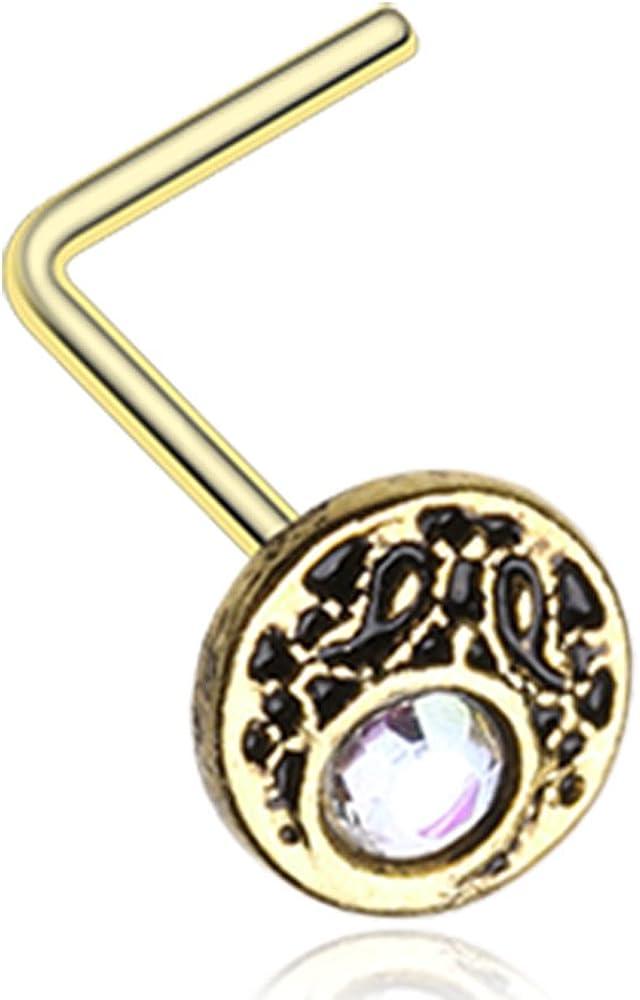 Crescent Legend Sparkle Icon L-Shaped Nose Ring