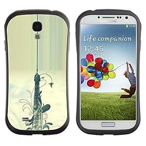 Paccase / Suave TPU GEL Caso Carcasa de Protección Funda para - Floral Pattern Eifel Tower Paris Painting - Samsung Galaxy S4 I9500