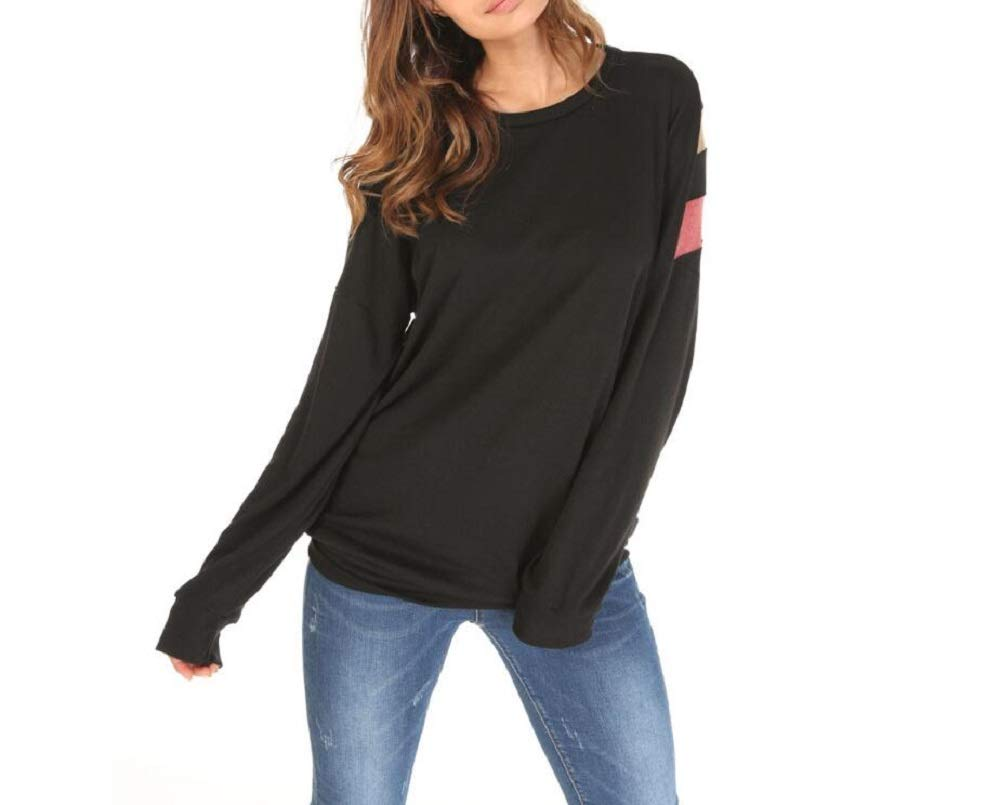 Primoda Women's Cotton Long Sleeve Loose Sweatshirt Crewneck Color Block T-Shirt Tops (S, Black2)