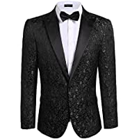 COOFANDY Men's Floral Party Dress Suit Stylish Dinner Jacket Wedding Blazer