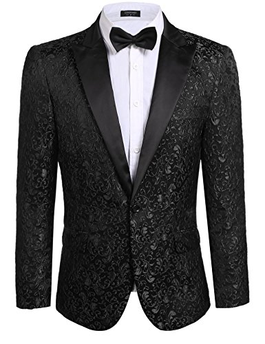 COOFANDY Men's Floral Party Dress Suit Stylish Dinner Jacket Wedding Blazer Prom Tuxedo,Black,US XXXL(Chest 55.1