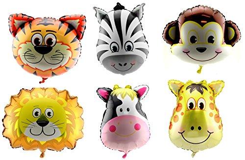 (Adorox Set of 6 Animal Giant Balloons Jungle Safari Zoo Theme Party)