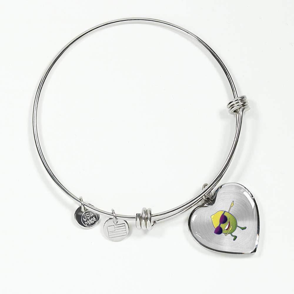 Gifts Vegan Juice Squeezer Lemonade Lovers Funny Lemon Lime Womens Heart Pendant Bangle Bracelet