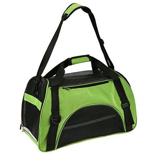 Pet Carrier Soft Sided Comfort Travel Breathable Large Tote Bag Hand Carrier Bag (Medium, Green)