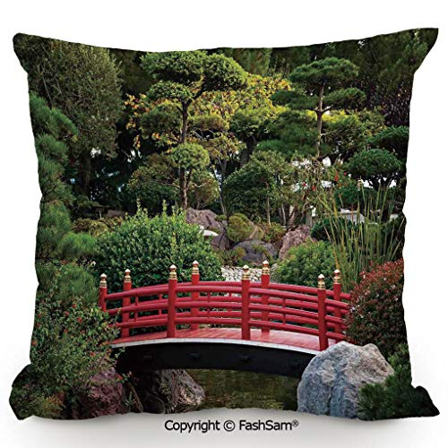 FashSam Polyester Throw Pillow Cushion Tiny Bridge Over Pond Japanese Garden Monte Carlo Monaco Along with Trees and Plants Decorative for Sofa Bedroom Car Decorate(20