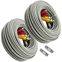 Igreeman 2 Pack 100ft BNC Cables CCTV Surveillance 1080P Camera Video Power Upgraded Extension Siamese Cords Pre-made BNC DC Connectors for HD Home Security DVR System- Grey Color