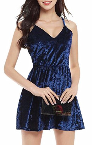 Party Summer Womens line Strap neck Dress Velvet A 1 Jaycargogo V Spaghetti z5FdZn4zwq