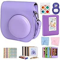 For Fujifilm Instax Mini 9 8 8+ Instant Film Camera Accessories Bundle, Case Purple/ Mini Album/ Selfie Lens/ 4 Color Filters/ Hanging Frames/ Table Frame Set/ Stickers/ 2 Cloth. By SAIKA (Purple)