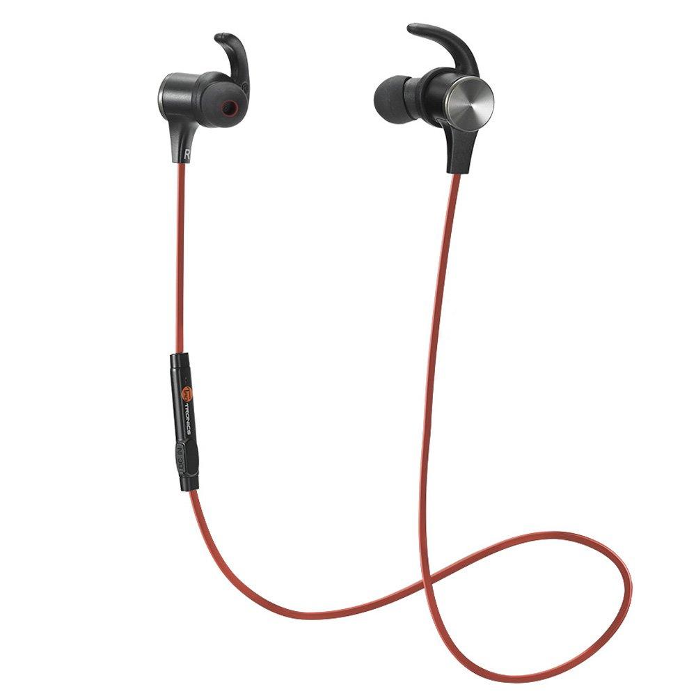 TaoTronics - Cuffie Bluetooth Magnetiche, TaoTronics Auricolari Sportivi Wireless Stereo ( Bluetooth 4.1, IPX5, aptX, A2DP, 6 ore di Riproduzione, Microfono Incorporato, CVC 6.0 ) per iPhone, Galaxy, Tablet, MP3, ecc. – Rosso