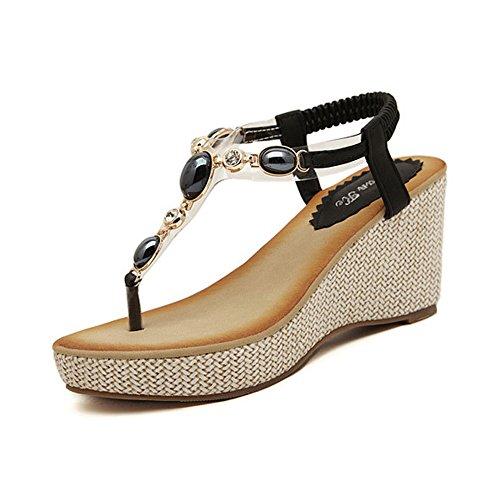 DophinGirl Women Black Open Toe Rhinestones Jewels Wedge Platform Sweet Elegant Comfy String Thong Summer Sandals Shoes Prime