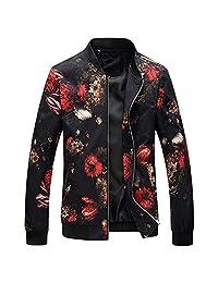 Rambling Hot Style Men's Floral Jacket Lightweight Windbreaker Flowers Printed Slim Fit Varsity Coat
