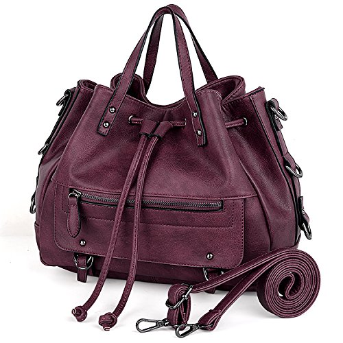 UTO Purse PU Handbag Drawstring Medium Shoulder Bag Satchel Size Red Leather Bags Women Closure Zrqf4pZg