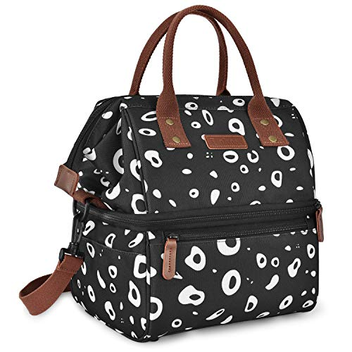 Lokass Lunch Bags for Women Wide Open Insulated Lunch Box With Double Deck Large Capacity Cooler Tote Bag With Removable Shoulder Strap Lunch Organizer For Outdoor/Work/Picnic(Black)
