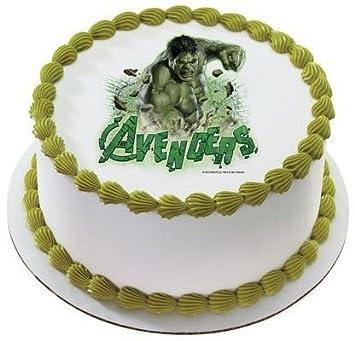 2 Round Avengers Incredible Hulk Birthday Edible Image Cake