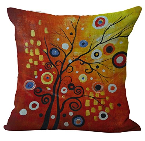 Linen Blend Tree Of Life Pattern Sofa Seat Cushion Cover Cotton Pillowslip Square Decorative Throw Pillow Case 18 X 18 pattern 3
