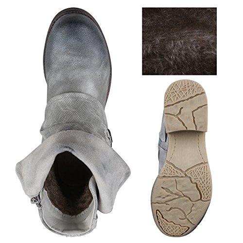 0cda160b9ecacc ... Stiefelparadies Stylische Damen Stiefeletten Stiefel Biker Boots  Metallic Nieten Flandell Grau Avelar