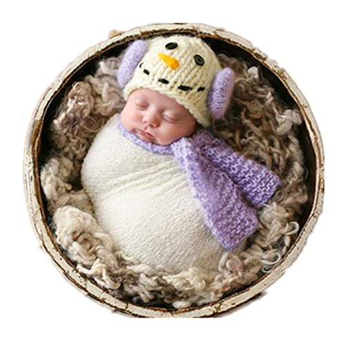 Newborn Monthly Baby Photo Props Outfits Snowman Hat Scarf Blanket for Boy Girls Photography Shoot (Purple) -