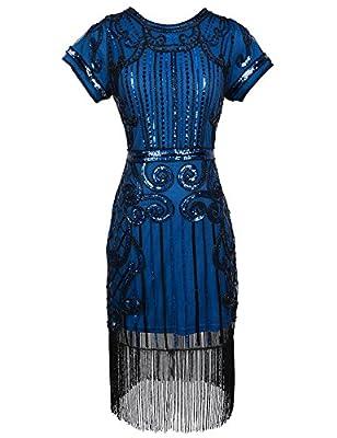 Women's Flapper Dress Sequin Inspired Art Deco 1920s Dress With Short Sleeve