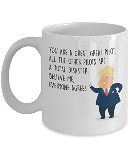 73dffc7007f Amazon.com: Funny Pilot Coffee Mug - President Donal Trump - Best ...