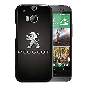 Beautiful Designed Cover Case For HTC ONE M8 With Peugeot logo 2 Black Phone Case
