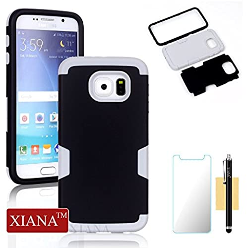 Galaxy S7 Case,XIANA Shockproof Hybrid Rubber Combo Silicone & PC Case Back Cover 3 in 1 for Samsung Galaxy S7 with Stylus, Screen Protector-(Black+Gray) Sales
