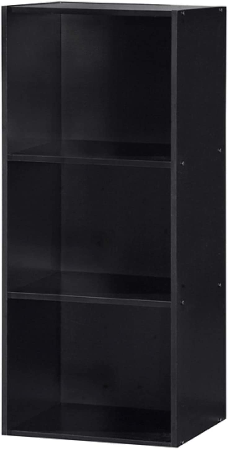 Hodedah Black 3 Shelf Bookcase