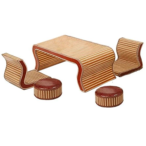 Natural bamboo - rattan wicker desk and chair set / table and chair suite / settee / seater / couch / chair / coffee table / tea table / teapoy / side table / end table by Sungao (Image #1)