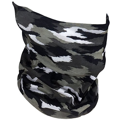 Fishing Mask Camo Headwear – Works as Fishing Sun Mask, Face Shield, Neck Gaiter, Headband, Bandana, Balaclava – Multifunctional Breathable Seamless Microfiber (Gray Camo)