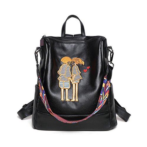 Mochila De Bordado De La Mujer De La Personalidad De Moda Bolsa De Viaje De La Cinta De Hombro PU Mochila (negro) Black2