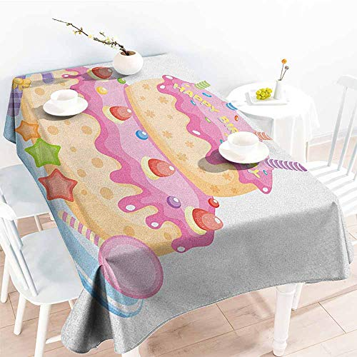 (familytaste Kids Birthday,Table Cloth Printed Pastel Colored Birthday Party Cake with Candles and Candies Celebration Image 70
