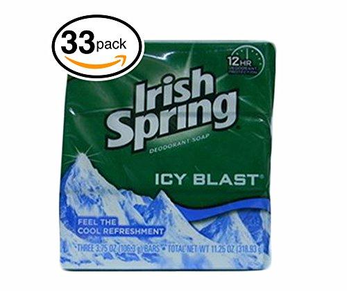 Irish Spring Bar Soap (33 Bars, 3.75oz / 106.3gr Each Bar, Icey Blast)