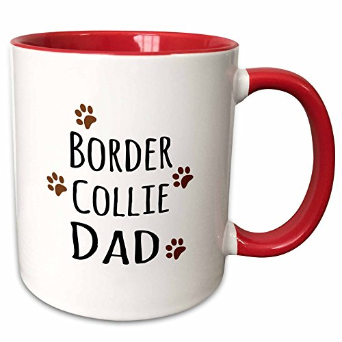 Red Border Collie - 3dRose mug_153867_5 Border Collie Dog Dad Breed-Brown Muddy Paw Prints Love-Doggy Lover Ceramic, 11 oz, Red/White