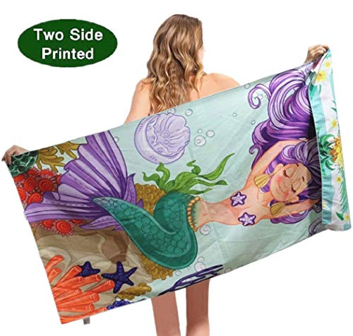 Microfiber Sand Free Beach Towel-Quick Dry Super Absorbent Lightweight Thin Pool Beach Towels for Kids Girls Adults Mermaid Pineapple Towels]()
