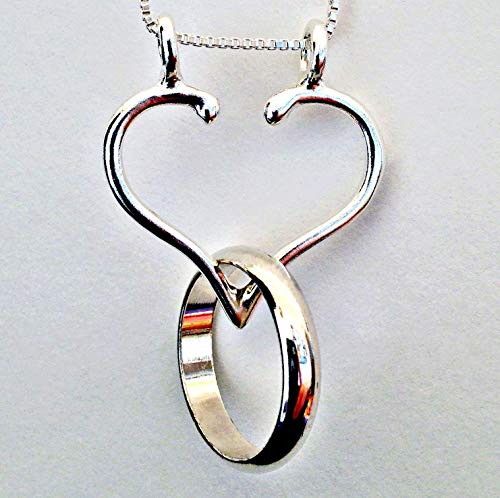 Ring Holder Necklace, The Only ORIGINAL & STURDY OPEN HEART Made in the USA by Ali C Art Handmade .925 Jewelry, Choose CHAIN 18