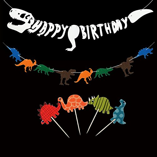 Dinosaur Dino Party Decoration Supplies - Happy Birthday Banner(Fossil Jurrasic T-REX Garland),Dinosaur Non-woven Fabric Banner, Dinosaur Cupcake Picks Cupcake Toppers Food Fruit Picks (Dinosaur Party Food)
