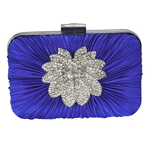 Handbag For Clutch Sparkly Party 1 Rouched Evening Box Blue Ladies Brooch Design Women With Designer Bag Chain Diamante nFp14E1WCq