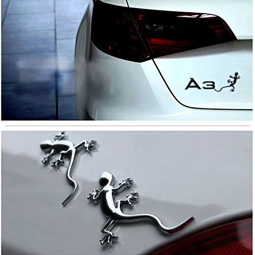 Dsycar 1Pcs 3D Metal Gecko Car Side Fender Rear Trunk Emblem Badge Sticker Decals for Universal Cars Motorcycle Car Styling Decorative Accessories