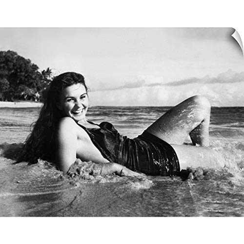 (CANVAS ON DEMAND Wall Peel Wall Art Print Entitled The Blue Lagoon, Jean Simmons - Vintage Publicity Photo, 1949 20