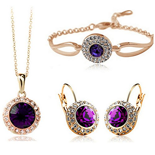 Women Fashion Jewelry 18K Gold Plated Cr - Deep Purple Stone Shopping Results