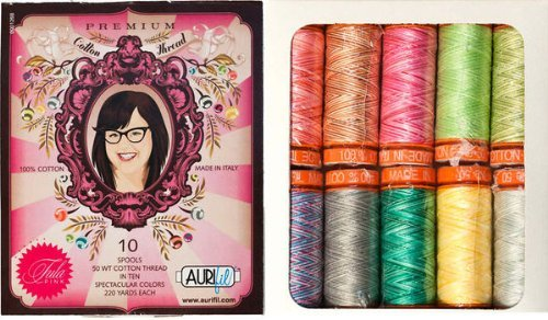 Aurifil Thread Set PREMIUM COLLECTION By Tula Pink Variegated 50wt Cotton 10 Small (220 yard) Spools by Aurifil